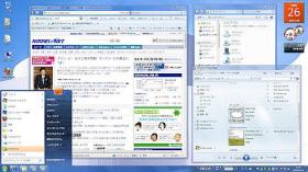 Windows 7ホームプレミアムの画面。ビスタとよく似ているが、タスクバーの表示などが異なる