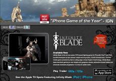 「Infinite Blade」の公式サイト画面
