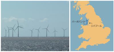 英国リバプールの沖合約7kmの海上に25基の風車が並ぶバーボバンク発電所。政府系組織クラウンエステートが2001年に入札した「ラウンド1」事業の1つ