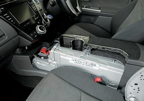 図1 7人乗り仕様の「プリウスα」の電池搭載位置  運転席と助手席の間に搭載されているセンターコンソールに内蔵している。