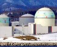 北海道電力泊原発3号機(右端)=2009年2月、北海道泊村