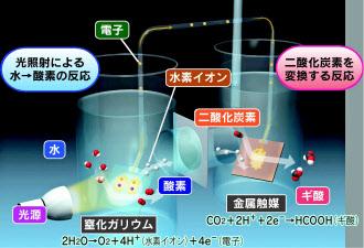 CO2からアルコール 人工光合成、...