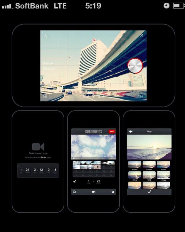動画のコマ数を選び(画面下段左)、動画を撮影、フィルターで加工(同右)する