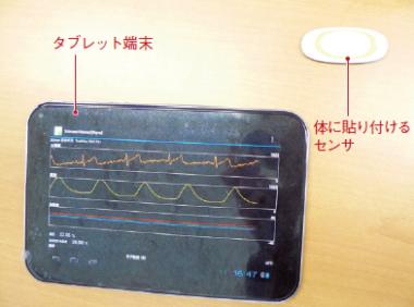 図6 東芝のワイヤレス生体センサー「Silmee」。体に貼り付けるセンサー部と、タブレット端末に測定データを表示させるアプリで構成する。2013年3月に開発を発表した