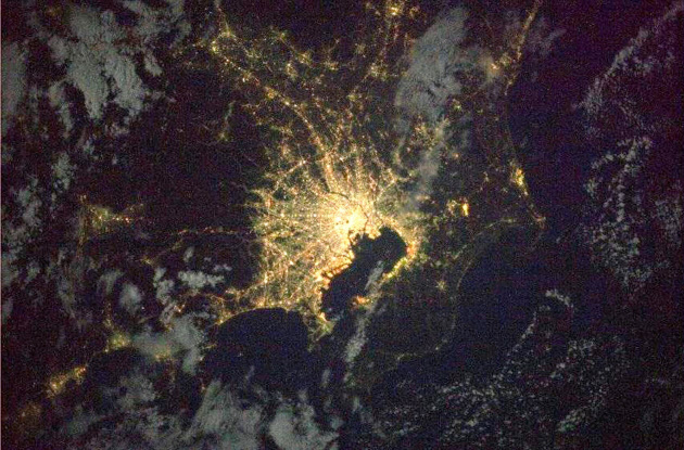 宇宙から見た関東が凄すぎる やっぱり東京が日本の中心だわ