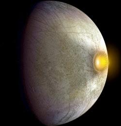 木星の衛星エウロパに小惑星や彗星が衝突した際の想像図=NASA提供共同