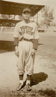 1936年に巨人が渡米遠征したときの沢村栄治(野球殿堂博物館提供)