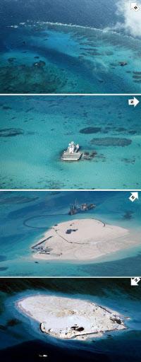 中国が埋め立てた南沙諸島の暗礁。小規模な基地周辺が陸地として拡張しているのが分かる。上から2012年3月、2013年2月、2014年2月、2014年3月。矢印は北を示す=フィリピン外務省提供共同