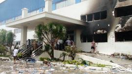 ベトナム南部ビンズオン省のベトナム・シンガポール工業団地の破壊された建物(14日)=共同