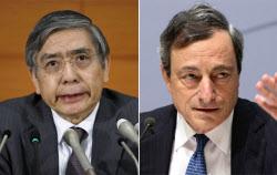 黒田日銀総裁(左)とドラギECB総裁=ロイター