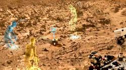 「ホロレンズ」と「オンサイト」を使った火星探査のイメージ(NASA提供)