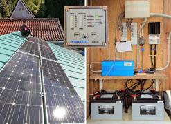 太陽光発電システム。電気はバッテリーに蓄えられ、直流24Vとインバーターを通した交流100Vの2系統で利用している
