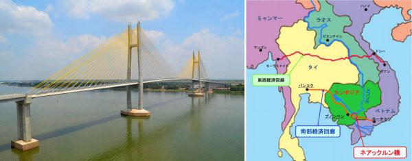 カンボジアで「つばさ橋」完成、...