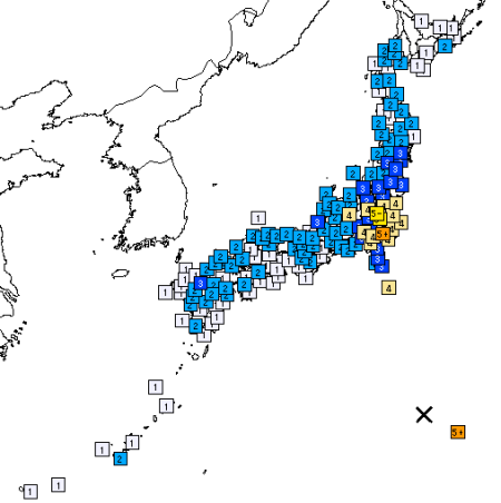各地域の震度分布(気象庁作成)