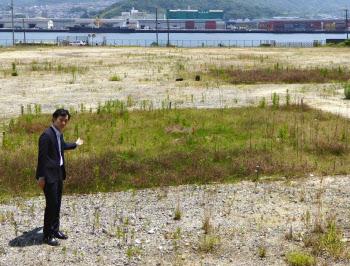 油分で汚染された区域に芝を植える(広島市)