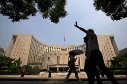 中国人民銀は輸出てこ入れを狙う=AP