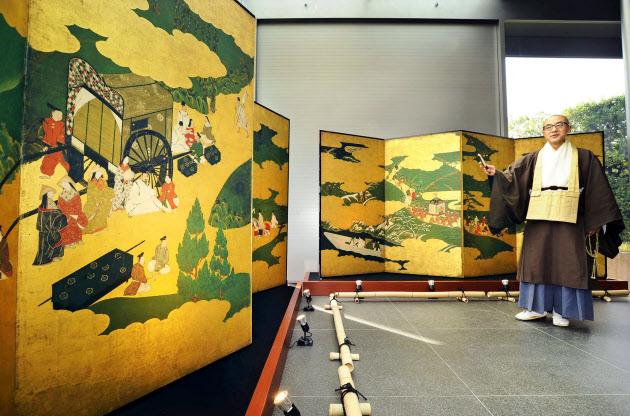 「源氏物語図屏風」をデジタル複製 京都・平等院で…(写真=共同)