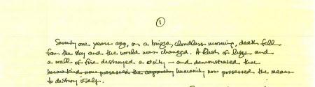 オバマ米大統領自ら何度も手を入れた広島演説の手書き原稿(ローズ米大統領副補佐官のブログより)