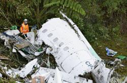 墜落し大破したチャーター機の機体=AP