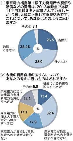 福島事故処理費「東電が負担を、...