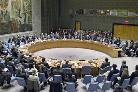 23日午後、イスラエルのパレスチナ入植非難決議が採択された(ニューヨークの国連本部・安保理)=国連提供