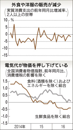 11月の消費支出1.5%減 野菜高騰で節約強まる消費者物価は0.4%下落