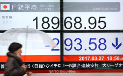 一時、1万9000円を下回った日経平均株価(27日午前、東京都中央区)