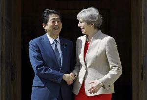 英国のメイ首相(右)と握手する安倍首相(28日、ロンドン郊外)=AP