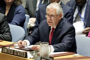 28日、安保理閣僚級会合で発言するティラーソン米国務長官=AP