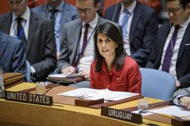 5日、米国のニッキー・ヘイリー国連大使は北朝鮮に対する制裁強化を訴えた(ニューヨークの国連本部)=国連提供