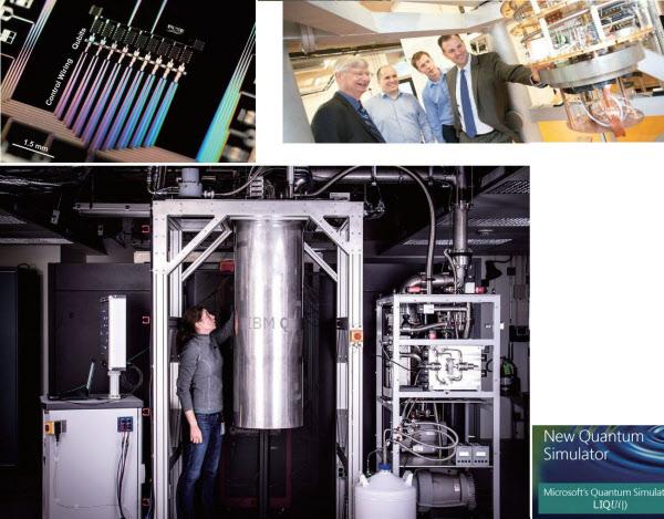 各社の量子コンピューター関連の発表。左上はグーグルの9量子ビットの試作機、右上はオランダの研究グループ「QuTech」に5000万ドル(約55億円)出資したインテル。左下は2017年3月に50量子ビット機の開発計画を発表し、5月に16量子ビット機をクラウドで公開したIBM。右下は2016年3月にシミュレーターを公開したマイクロソフト(写真:グーグル、IBM、マイクロソフト、QuTech)