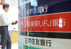 みずほ銀行、三菱東京UFJ銀行、三井住友銀行の看板(都内)