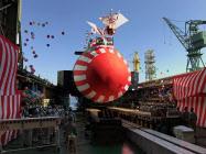 川崎重工が進水・命名した潜水艦「しょうりゅう」(6日、神戸市中央区)