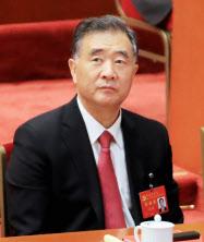 北朝鮮と「対立する関係になっている」と明かした中国の最高指導部の一人、汪洋副首相(10月の中国共産党大会)=小高顕撮影