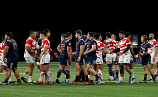 Rugby Union - Autumn Internationals - France vs Japan - U Arena, Nanterre, France - November 25, 2017   Players shake hands after the match   REUTERS/Gonzalo Fuentes