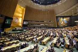 21日、ニューヨークの国連本部で総会の緊急会合が開かれた=AP