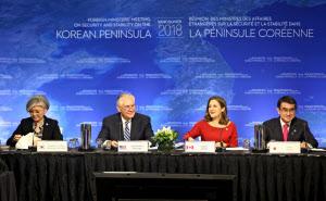 16日、カナダのバンクーバーで開かれた北朝鮮問題に関する外相会合=ロイター