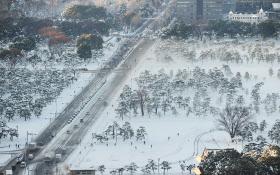 雪が積もり白く染まった皇居前(23日午前、東京都千代田区)