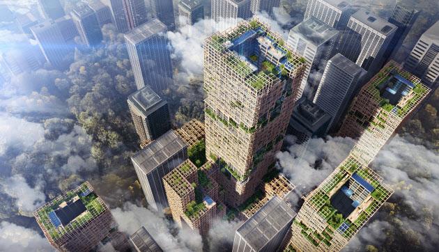 住友林業が構想を発表した木造高層ビルのイメージ図