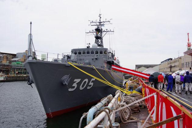 ジャパンマリンユナイテッド(JMU)が16日、海自に引き渡した掃海艦「ひらど」(横浜市のJMU鶴見工場)