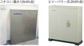 家庭向け定置型蓄電池の大手2社の製品例(写真:右はエリーパワー)