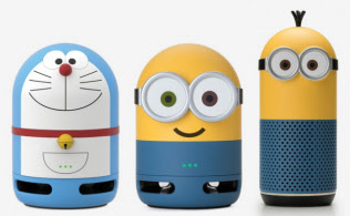 「Clova Friends mini(ドラえもん)」(C)Fujiko-Pro(左)、「Clova Friends mini(MINIONS Bob)」(中)と「Clova Friends(MINIONS Kevin)」(右)TM&(C)Universal Studios