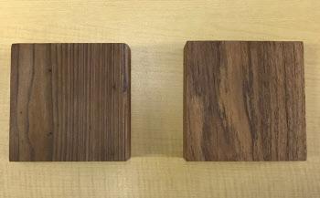 左がケボニー化処理を施したスギ材で、右が高級樹種であるチーク材。見た目の風合いは似ている(写真:日経 xTECH)