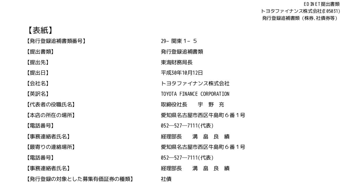 トヨタファイナンス:発行登録追...